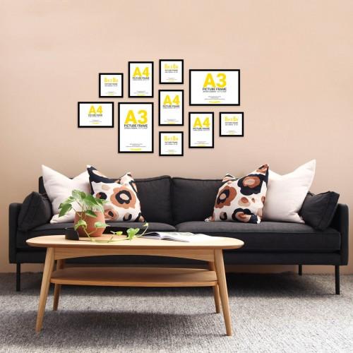 Black Frame Gallery Wall, Set of Ten