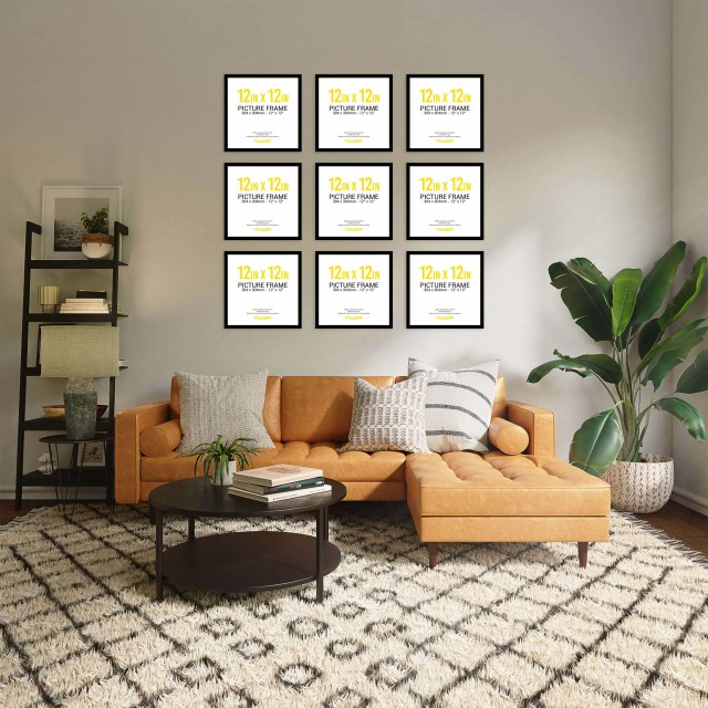 Black Frame Gallery Wall, Set of Nine 12inch x 12 inch