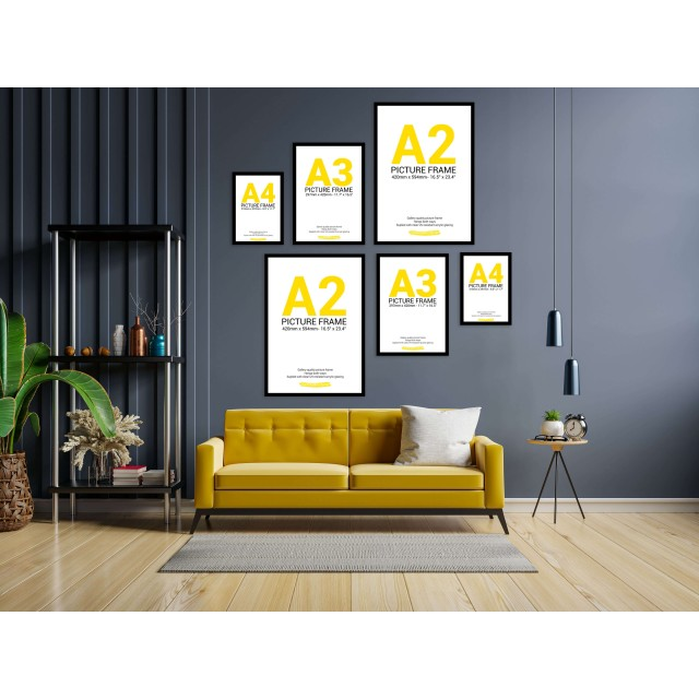 Black Frame Gallery Wall, Set of Six Multi Sizes