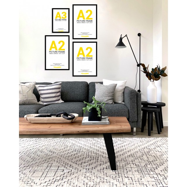 Black Frame Gallery Wall, Set of Four