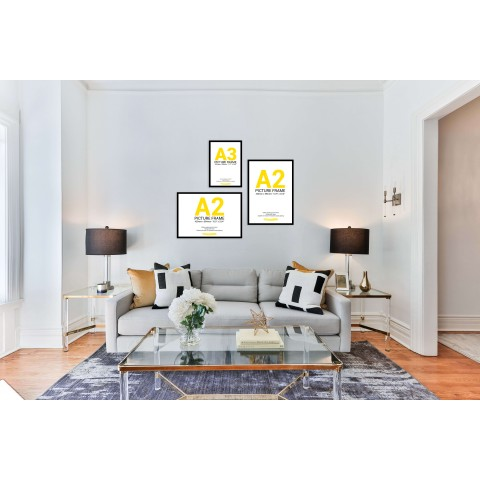 Black Frame Gallery Wall, Set of Three with A2 and A3