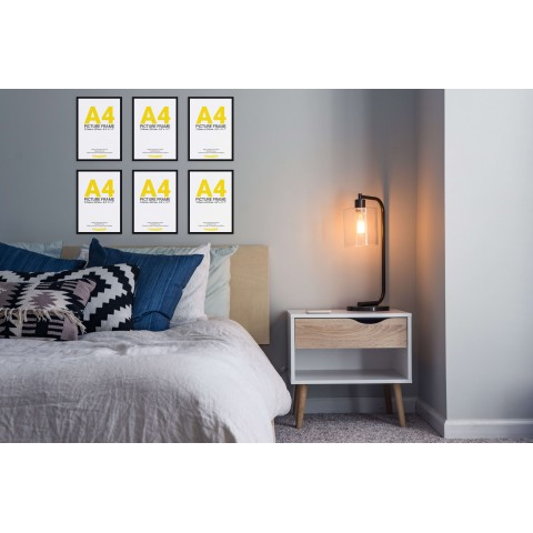 Black Frame Gallery Wall, Set of Six