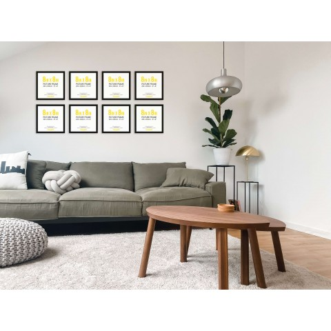 Black Frame Gallery Wall, Set of Eight