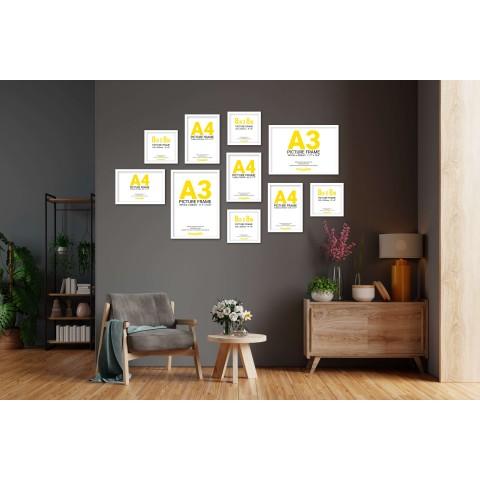 White Frame Gallery Wall, Set of Ten