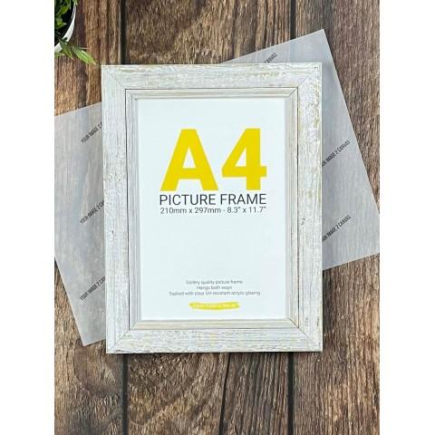 A4 White Distressed Photo Frame