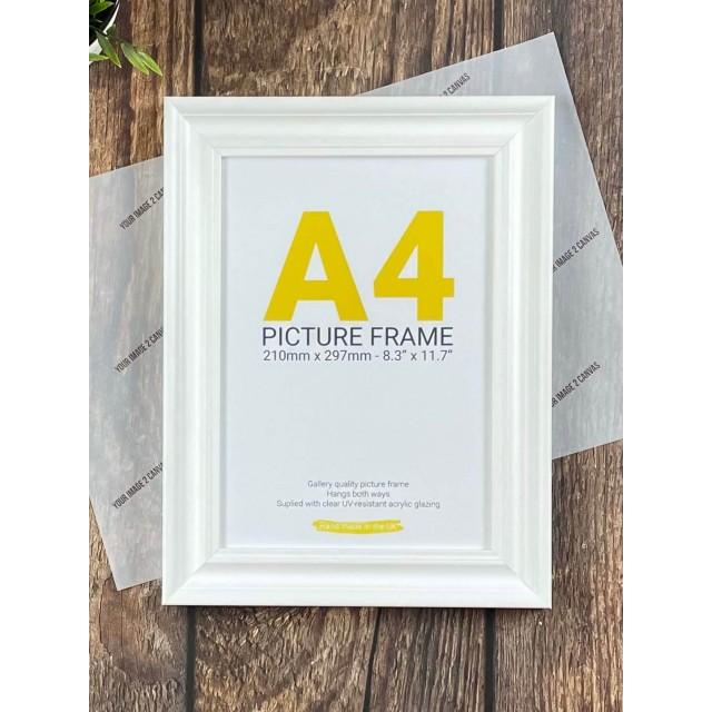 A4 White Grain Photo Frame
