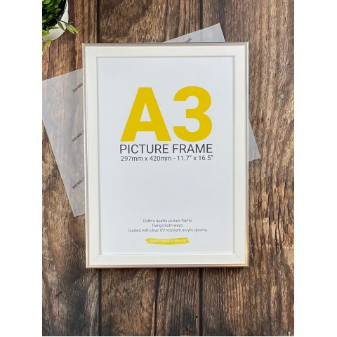 A3 Silver and White Photo Frame