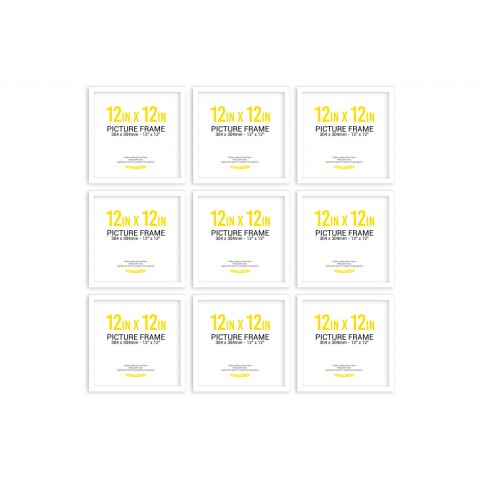 White Frame Gallery Wall, Set of Nine 12inch x 12 inch