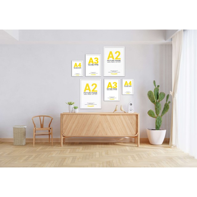 White Frame Gallery Wall, Set of Six Multi Sizes