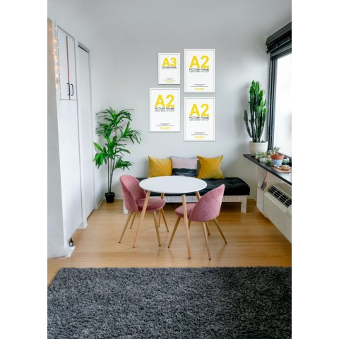 White Frame Gallery Wall, Set of Four