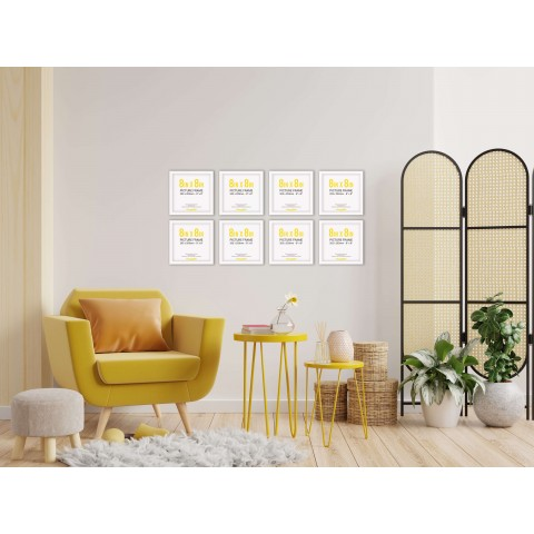 White Frame Gallery Wall, Set of Eight
