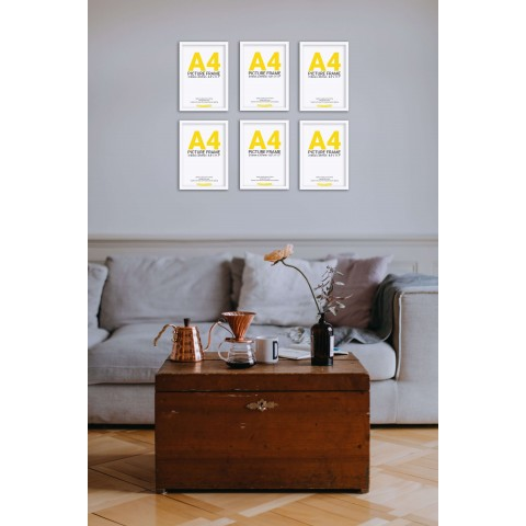 White Frame Gallery Wall, Set of Six