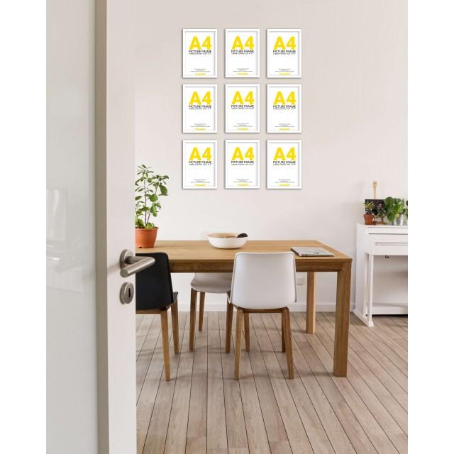 White Frame Gallery Wall, Set of Nine
