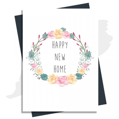 Happy New Home Card - Floral Wreath