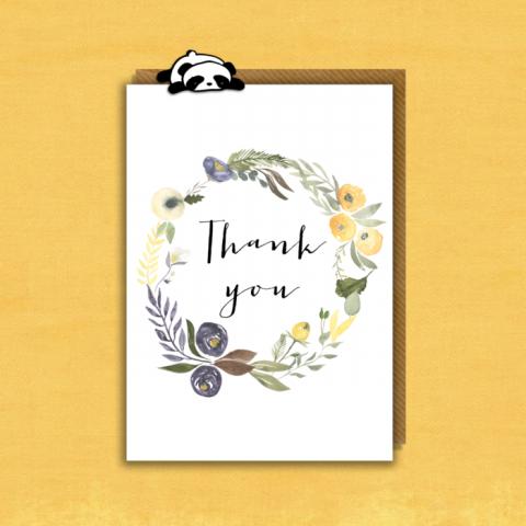 Thank You Card - Floral Wreath
