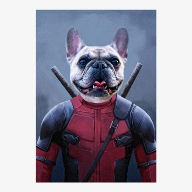 Deadpawl Superhero Pet Portrait