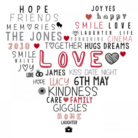 Personalised Heart Word Art | Typography | Next day delivery