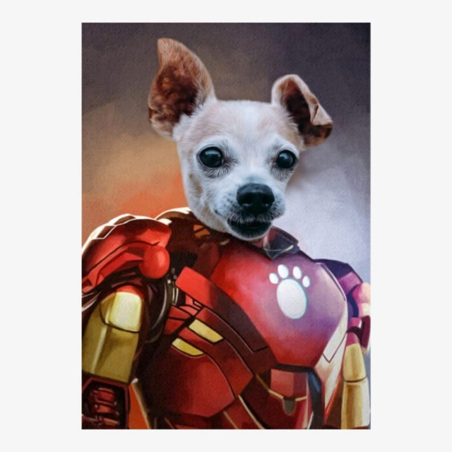 Bony Stark Superhero Pet Portrait