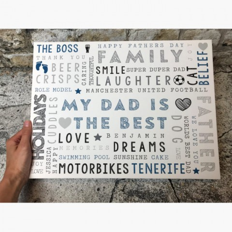 Personalised Typography Canvas Print Edge To Edge Rectangle