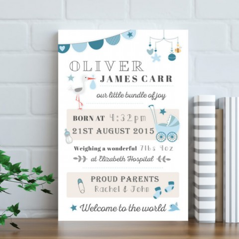 Personalised Baby Typography Canvas Print