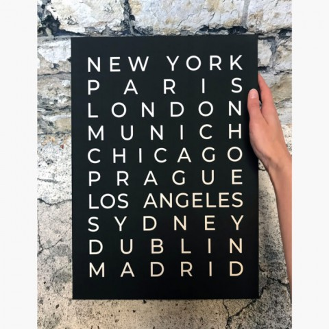 Personalised Typography Travel Canvas Print Black And White