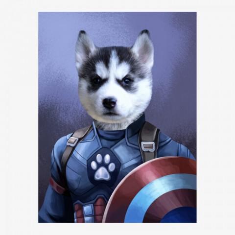 Captain Pawmerica Superhero Pet Portrait