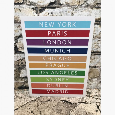 Personalised Typography Travel Canvas Print Colour