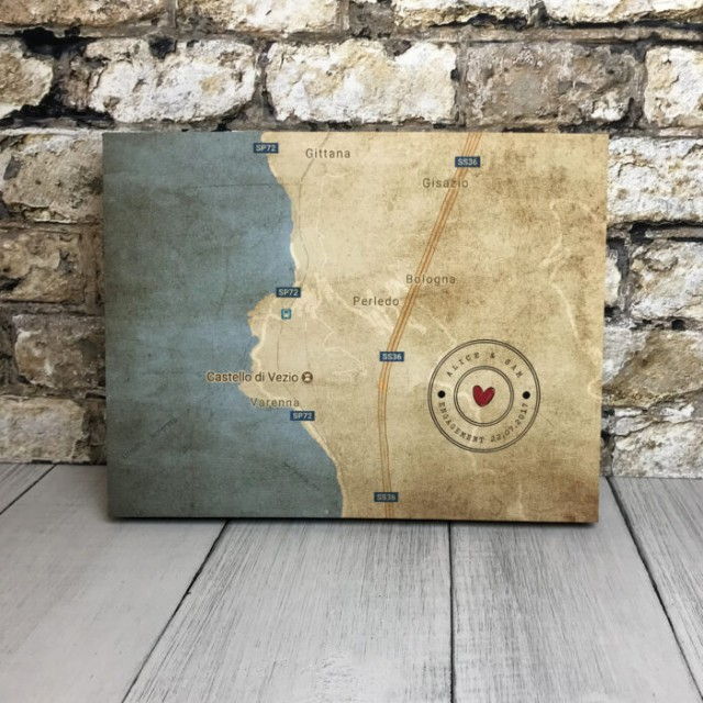 Personalised Map Print Canvas