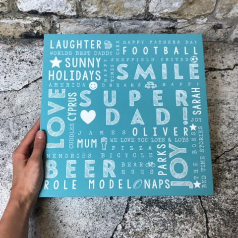 Personalised Typography Canvas Print Edge To Edge Square