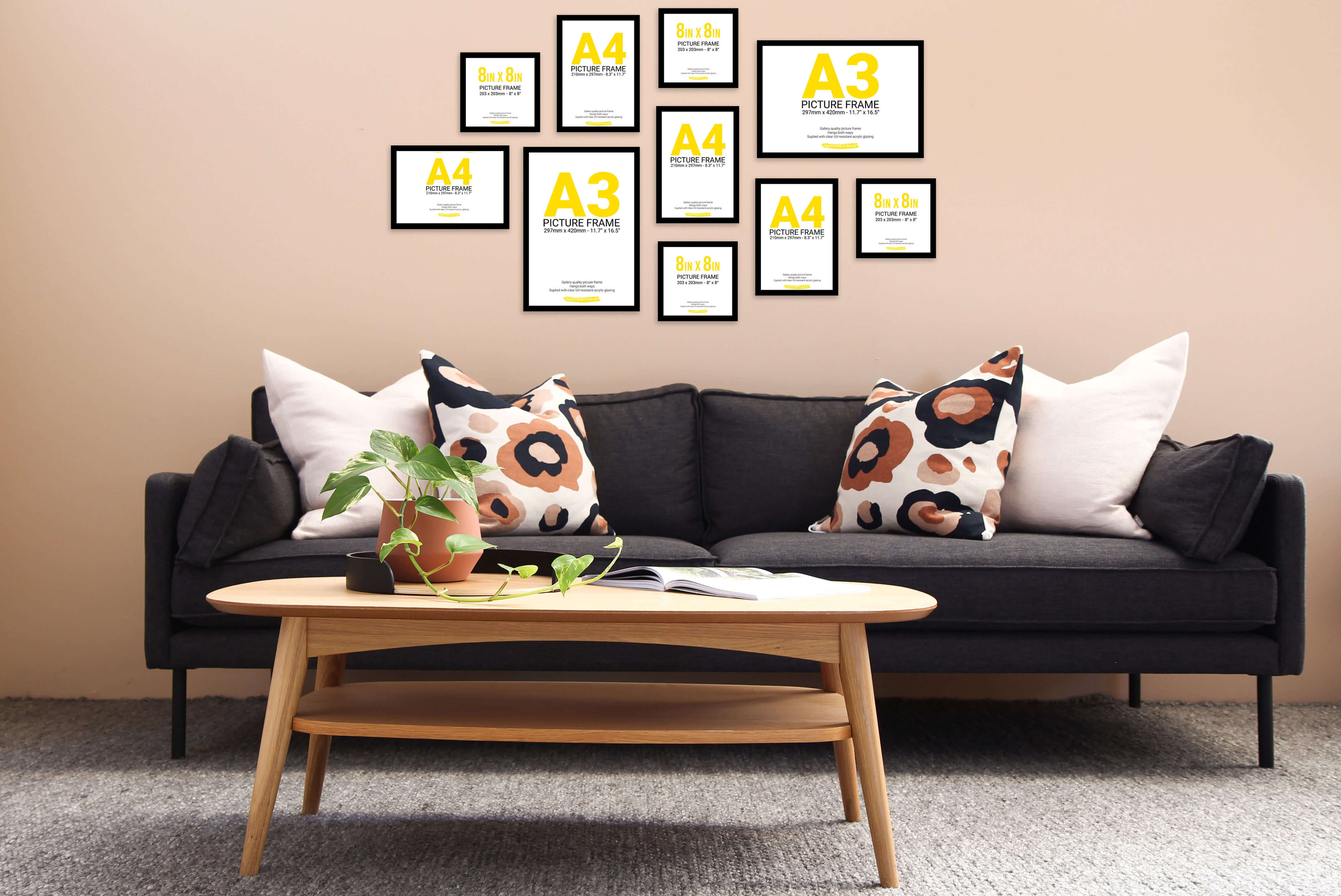 Create a feature wall with our wall picture frames set that come with a variety of pack sizes and templates