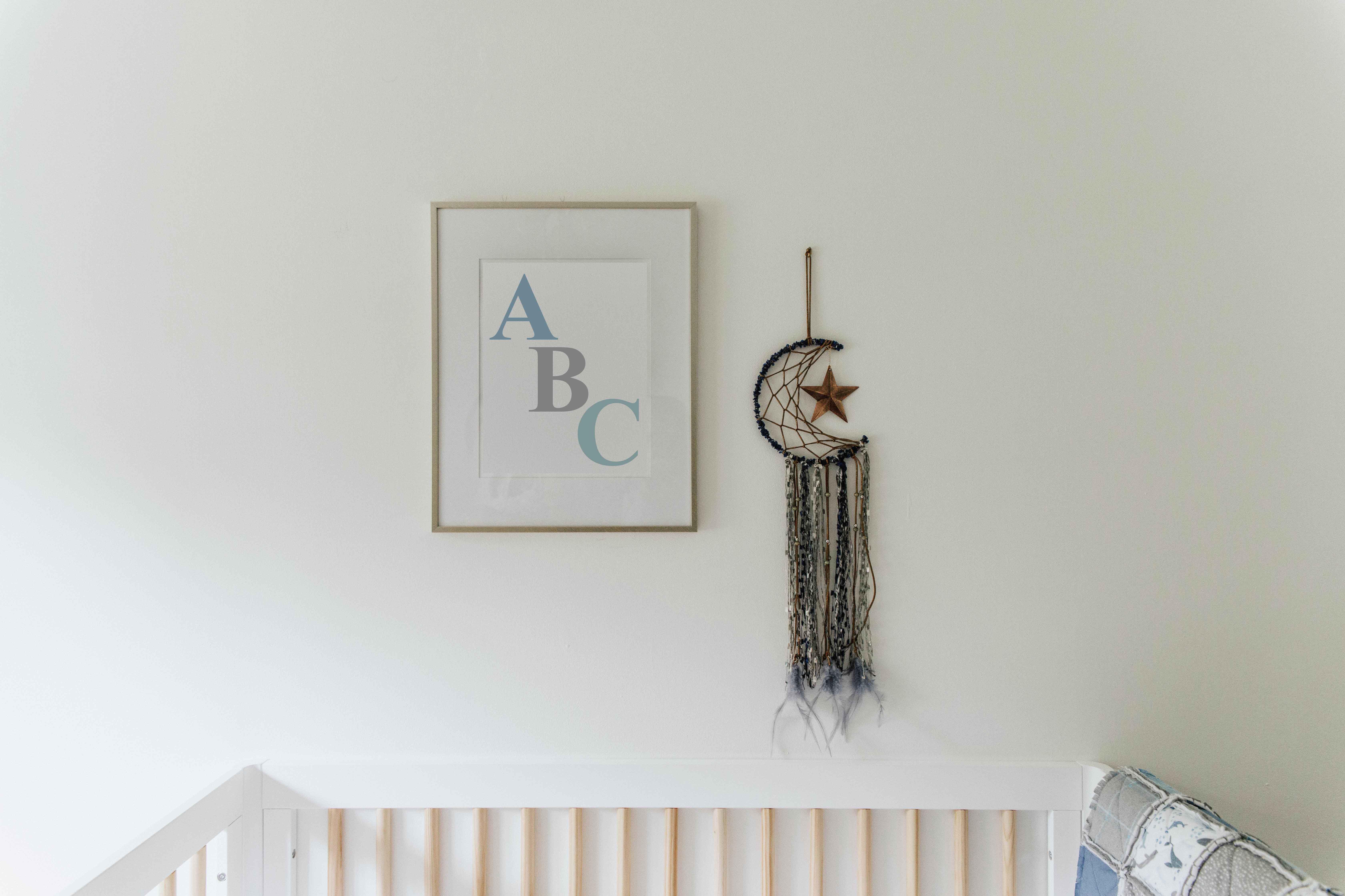 Framed print with alphabet ABC artwork for babys room