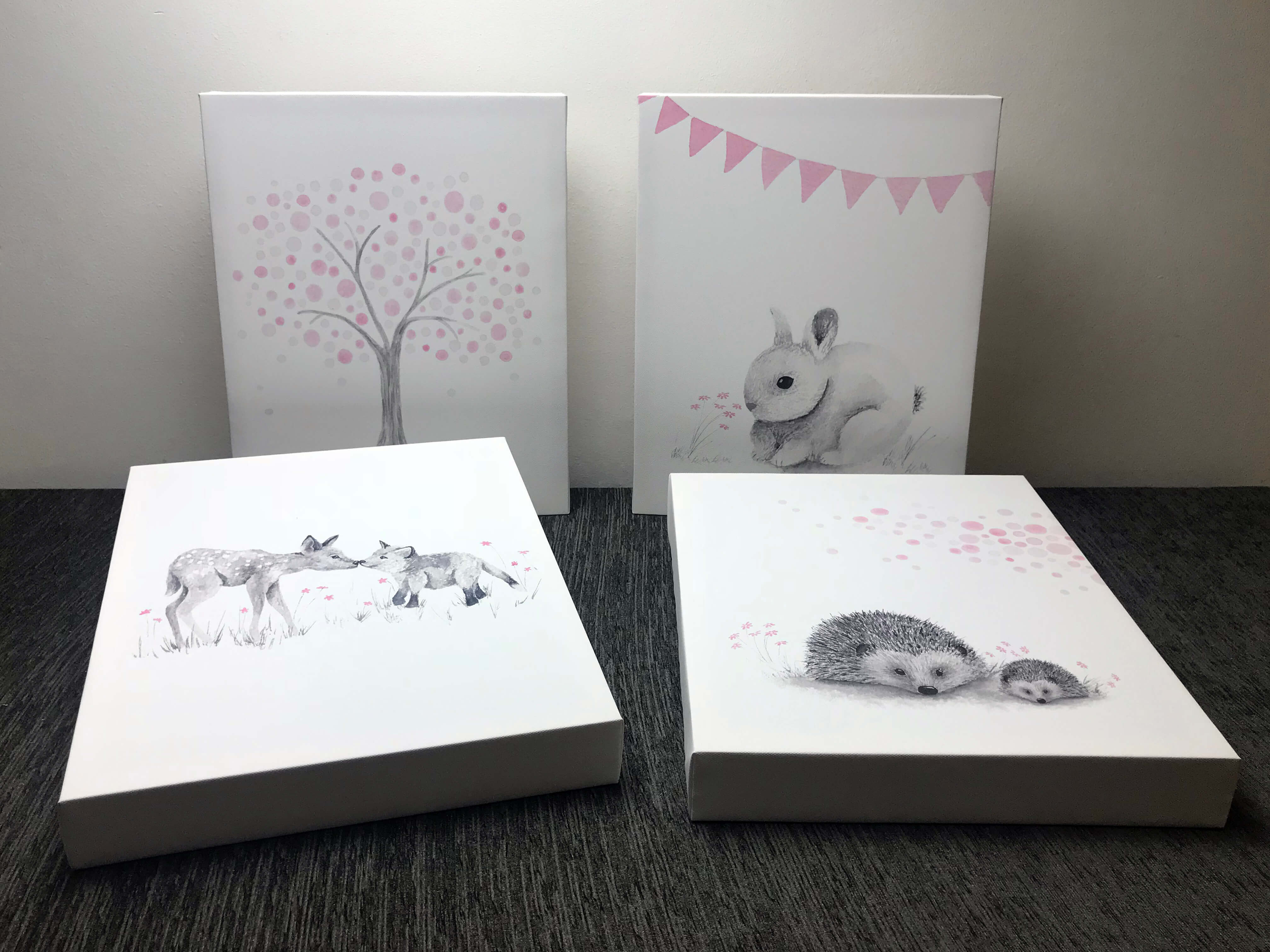 Illustrations of animals perfect for a babies nursery wall art to finish the design by incorporatingthe colour