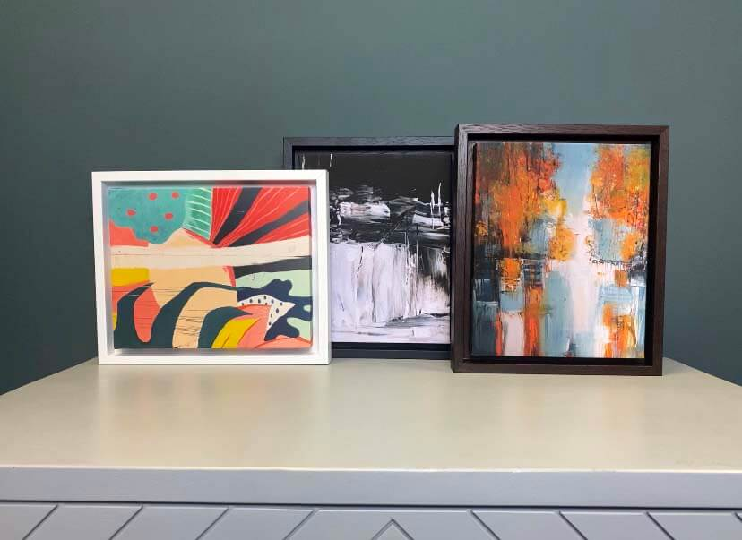 Abstract art illustrations in box frames canvas prints
