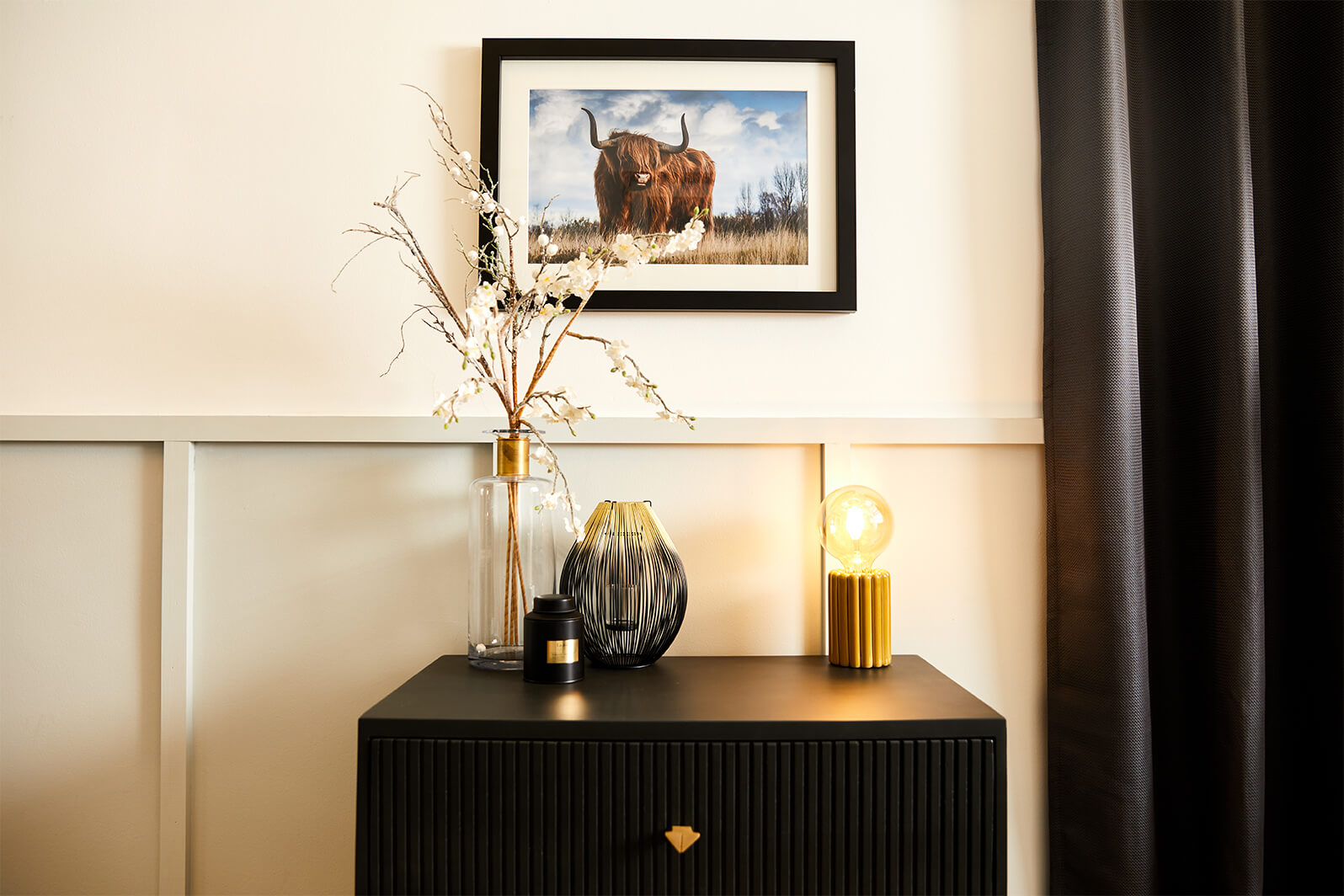 Black picture frame with highland cow, create framed photos online and delivered next day
