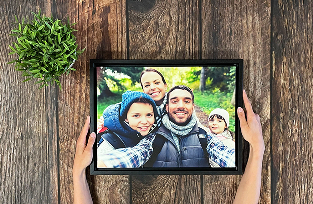Create canvas print online perfect gift idea upgrade to canvas floater frame for a stunning finish