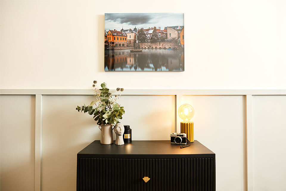 Wall decorated with canvas prints and get your custom canvas delivered next day