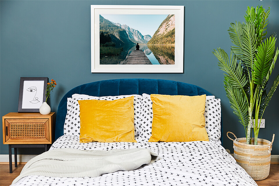 Bedroom decorated with picture frames get your framed photo prints delivered next day